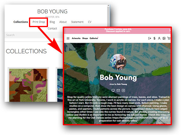 Go to Bob Young's VSUAL shop by clicking the Print Shop menu item.